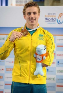 Matt Cowdrey collecting gold at the world champs